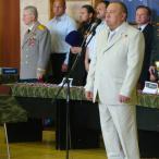 Выступает командующий Воздушно-десантными войсками Герой России генерал-лейтенант В.А. Шаманов
